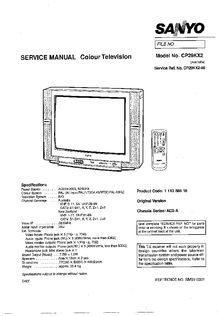 SANYO LCD-32K30 CHASSIS UH4-B Service Manual free download