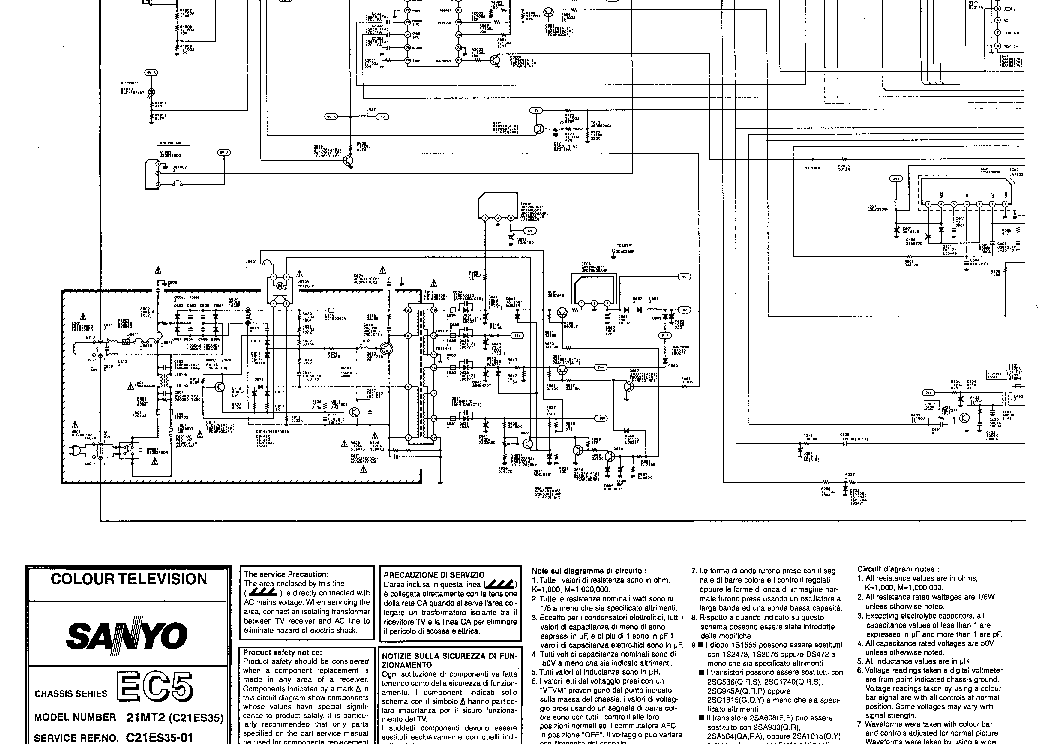 SANYO C21ES35 Service Manual download, schematics, eeprom