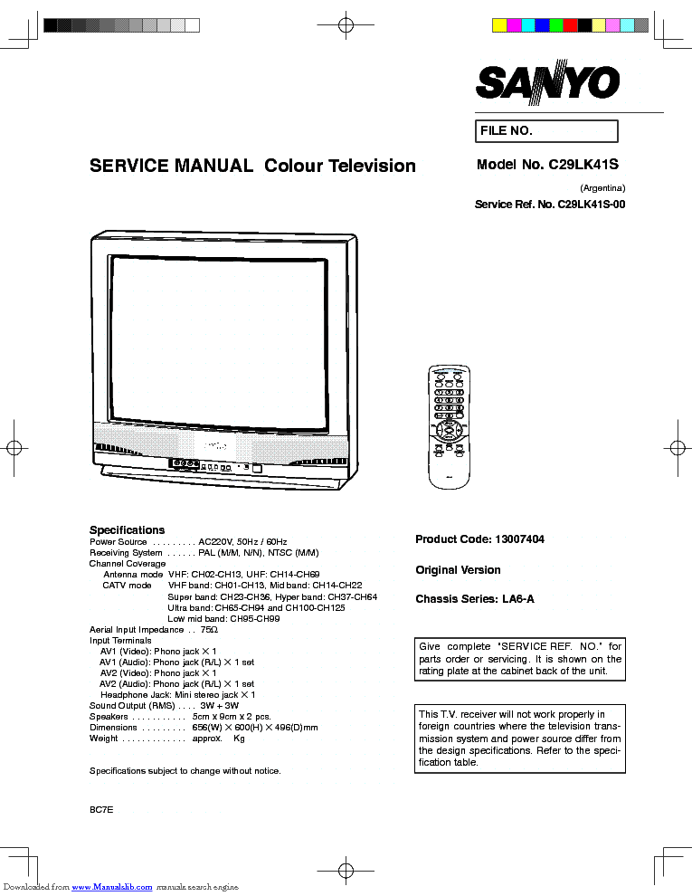 SANYO LCD-32XR9DA SM Service Manual download, schematics