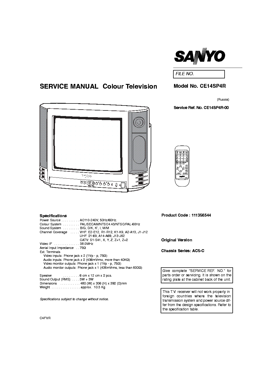 SANYO CHASSIS 2113 EC7B Service Manual free download