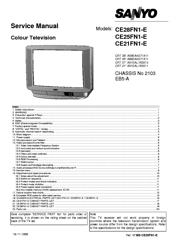 SANYO CE21FN1 25FN1 CHASSIS EB5A Service Manual download
