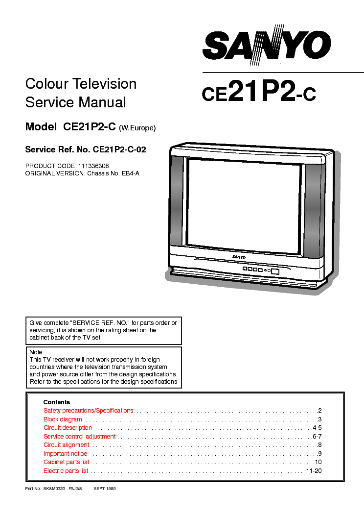 SANYO CE21P2-C CH EB4A Service Manual download, schematics