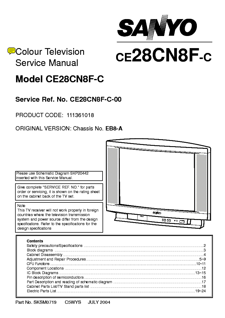 SANYO PLV55WM1 LCD Service Manual free download