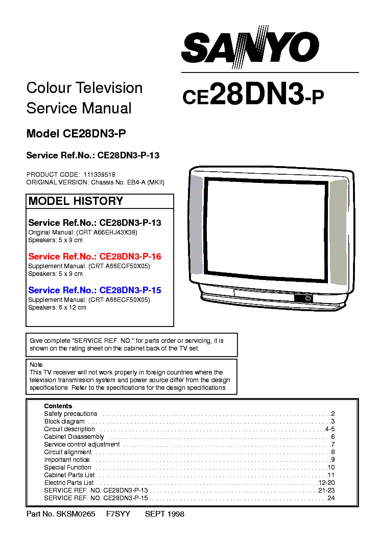 SANYO CE28DN3-P CH EB4A SM Service Manual download