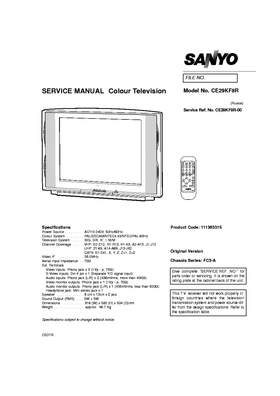 SANYO CE29KF8R CH FC3A Service Manual download, schematics