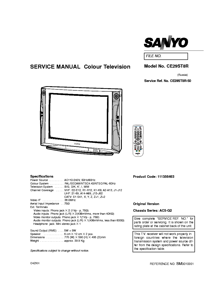 SANYO CE29ST8R Service Manual download, schematics, eeprom
