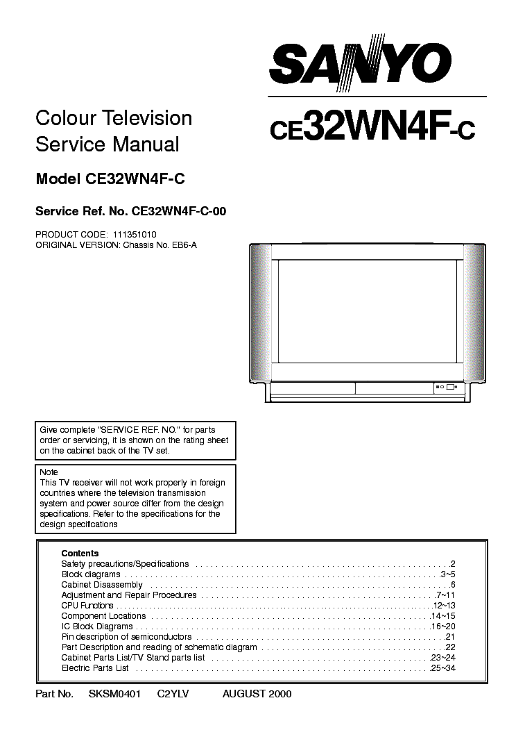 SANYO CE32WN4F-C-CHASSIS-EB6-A Service Manual download