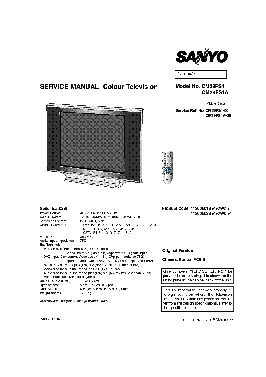 SANYO DS25390 AVM2509C S SM Service Manual free download