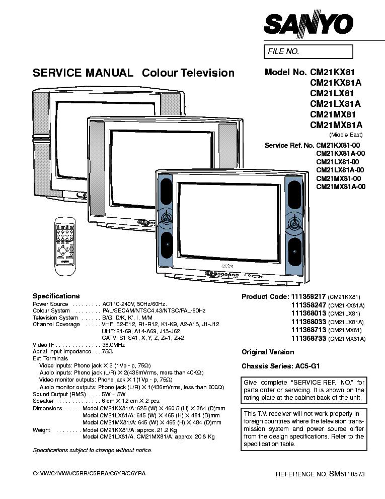SANYO CM21KX81 1LX81 MX81 CHASSIS AC5-G1 SM Service Manual