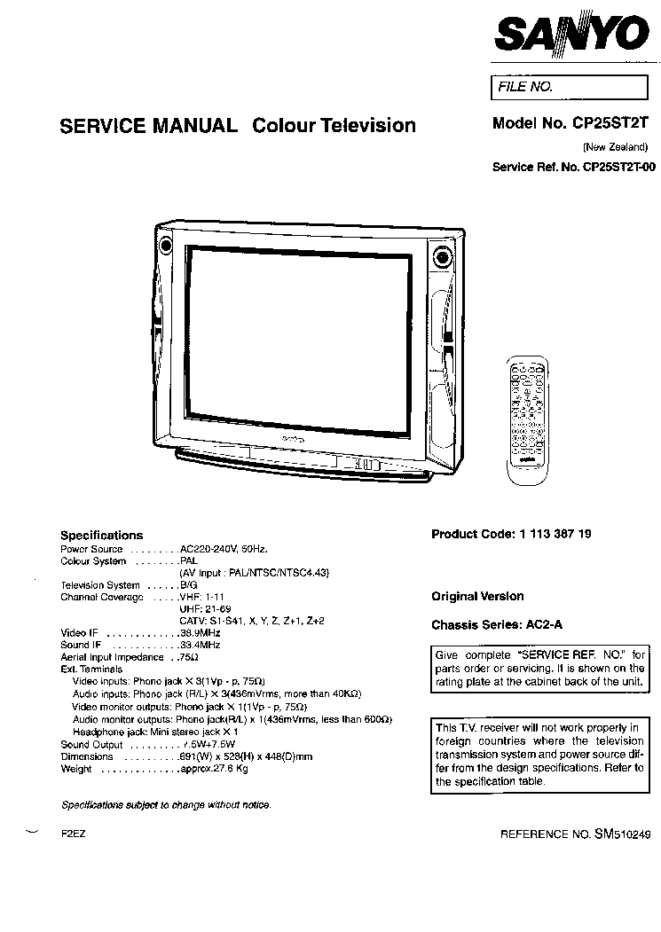 SANYO CP25ST2-T CHASSIS AC2-A SM Service Manual download