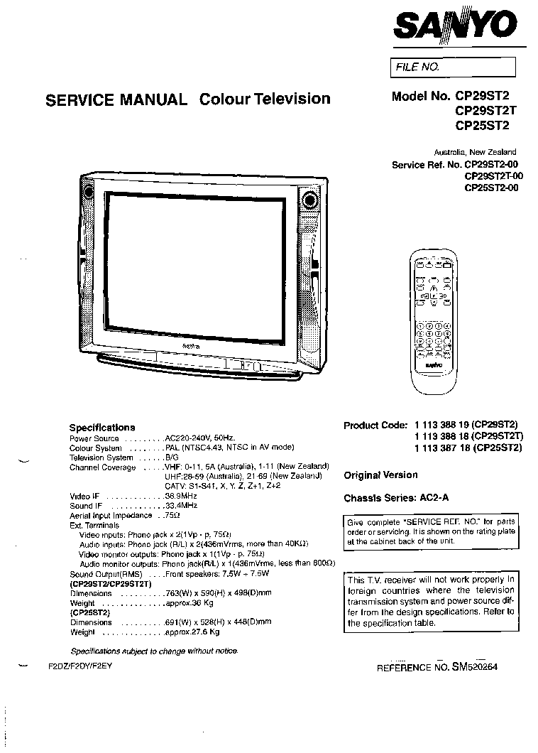 SANYO CP29ST2-T CHASSIS AC2-A SM Service Manual download