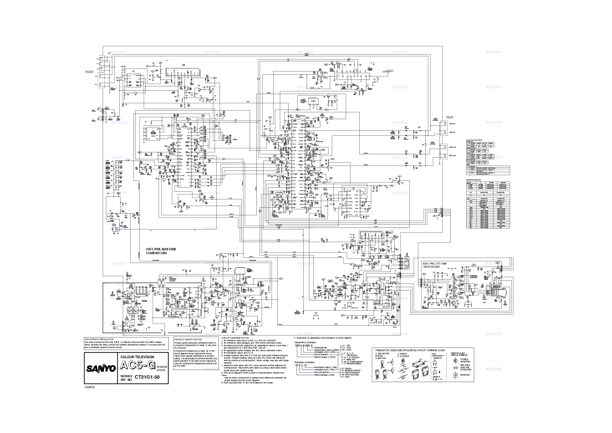 hight resolution of sanyo ct21g1 chassis ac5g sch service manual 1st page