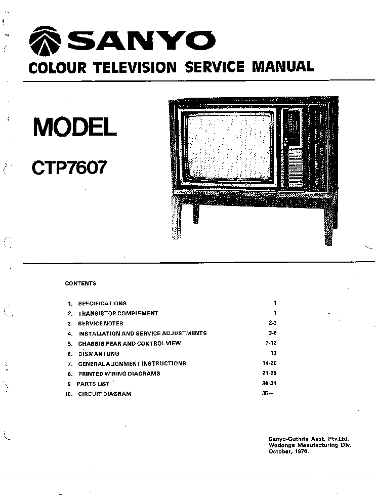 SANYO CTP7607 TV SM Service Manual download, schematics