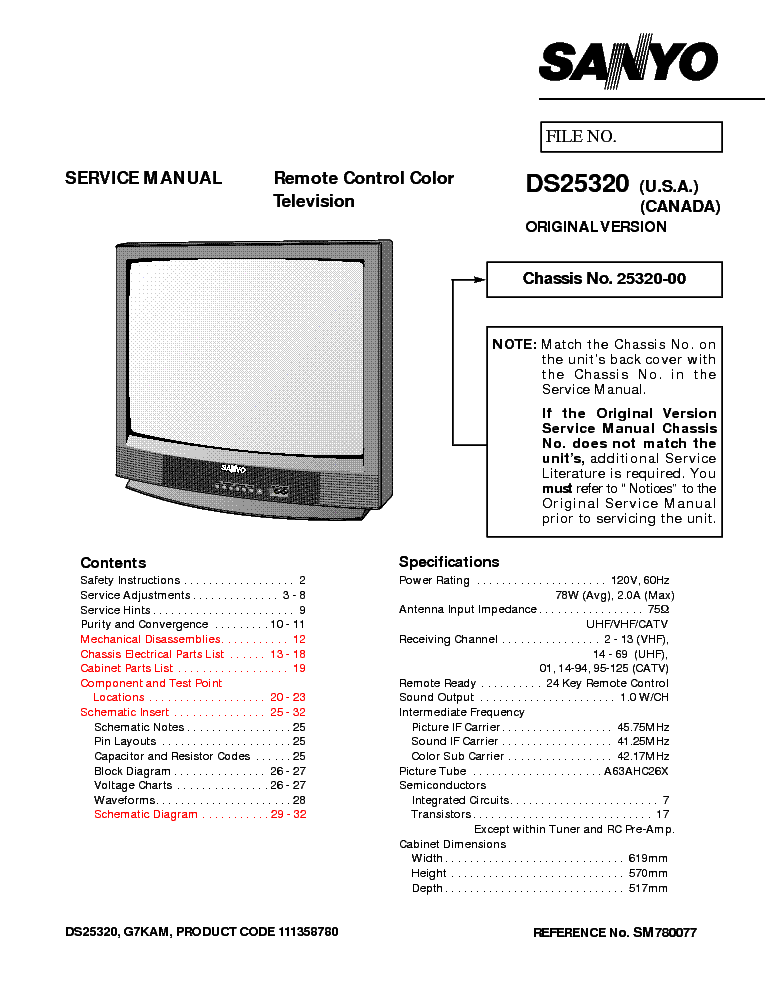 SANYO DS25320 SM Service Manual download, schematics
