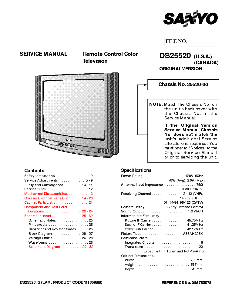 SANYO A3-A CEM3022SU-00 Service Manual free download