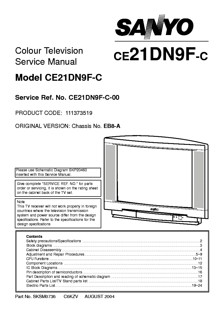 SANYO EB8-A CE21DN9F Service Manual download, schematics
