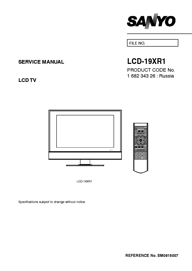 SANYO LCD-19XR1 Service Manual download, schematics