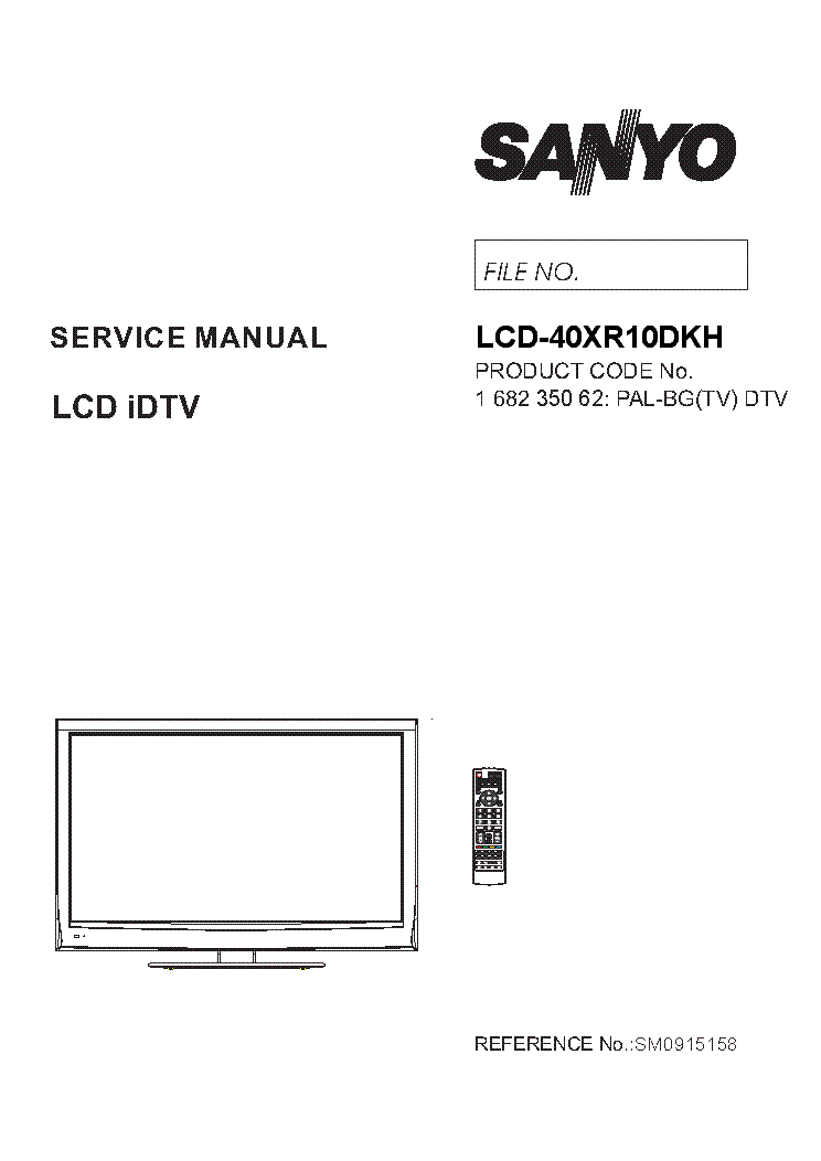 SANYO SM0915158-00 LCD-40XR10DKH Service Manual download