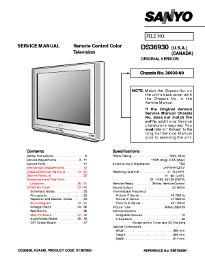 SANYO TV DS36930 SM780091 Service Manual download, schematics, eeprom, repair info for