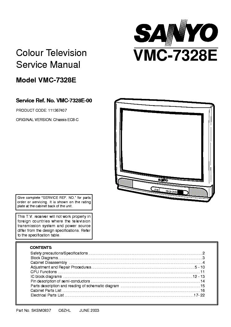 SANYO VMC-7328E CHASSIS EC-8C Service Manual download