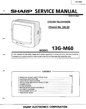 SHARP 13GM60 TV SM Service Manual download, schematics