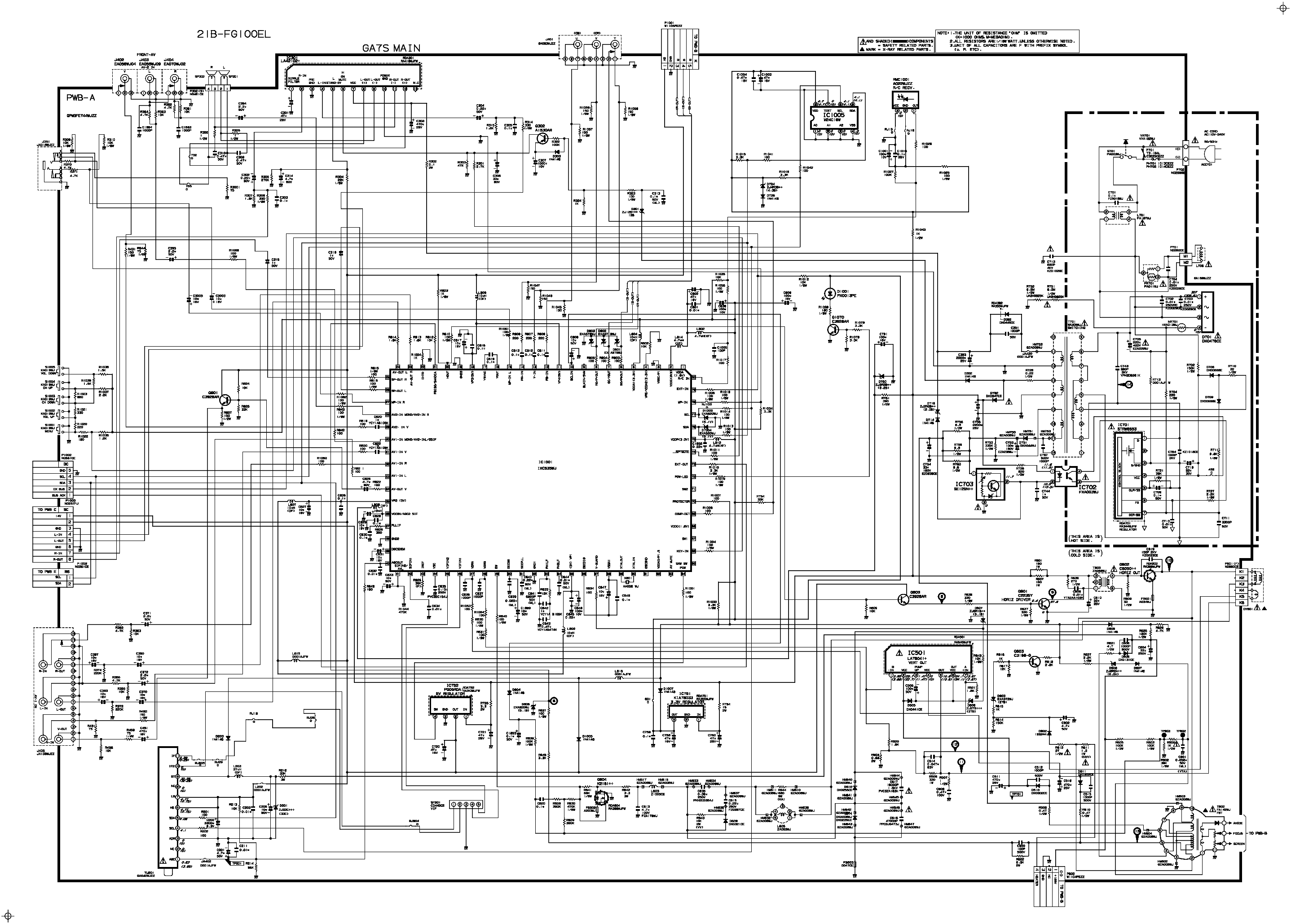 SHARP 14R2 14R2B Service Manual download, schematics