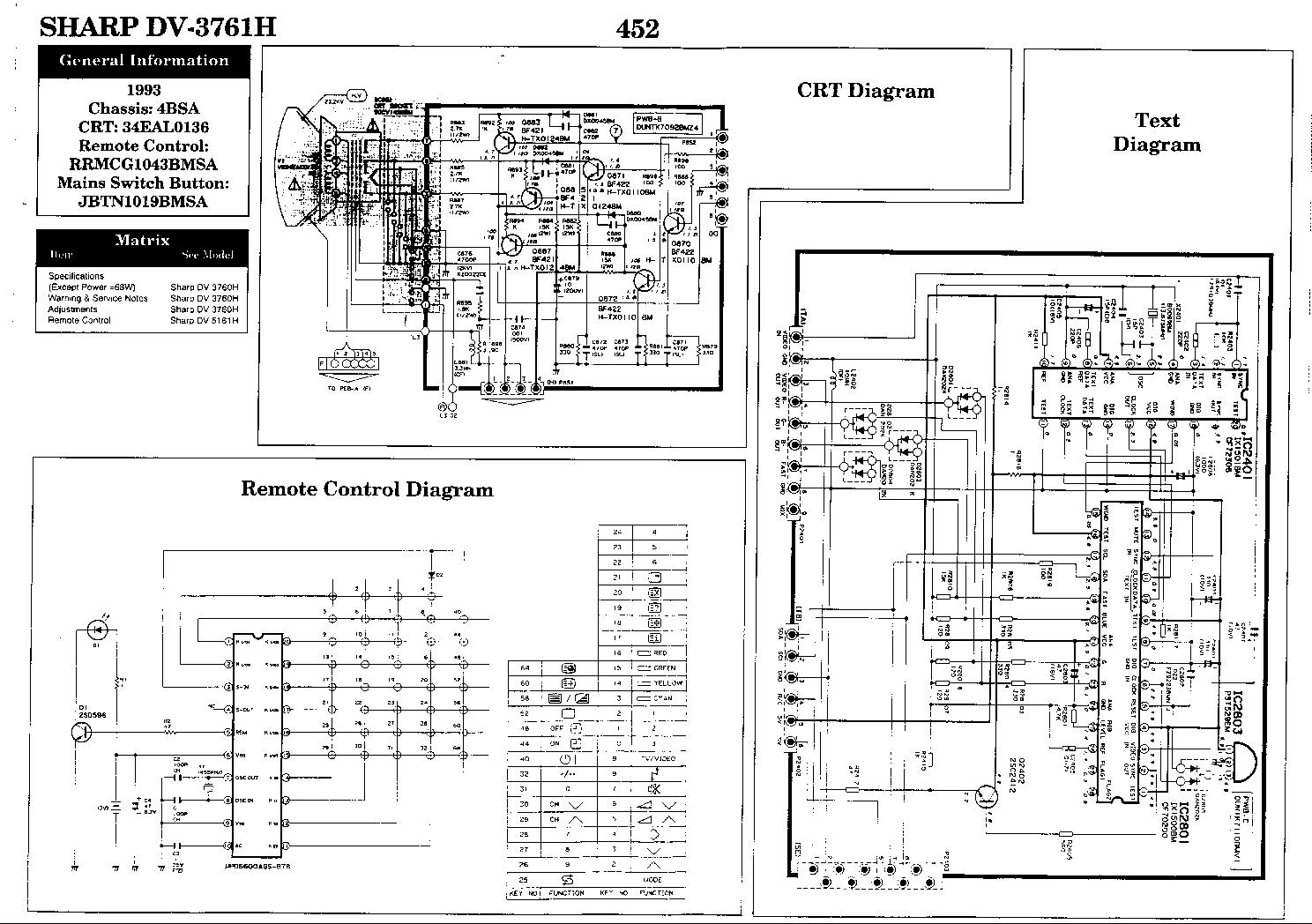 sharp 54gt 25s television schematic diagram