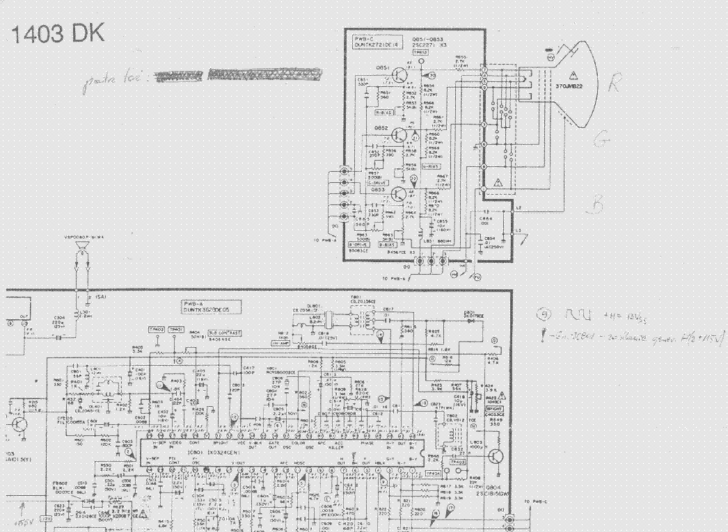 SHARP C1403DK TV D Service Manual download, schematics