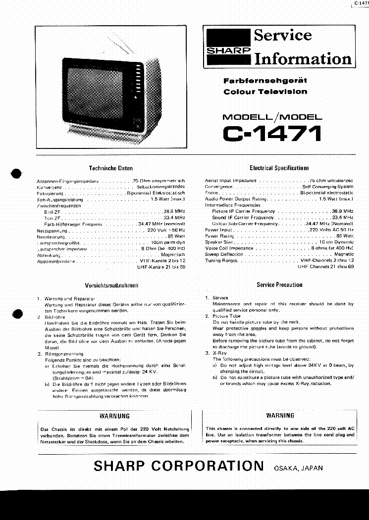 SHARP C1471 TV SM Service Manual download, schematics