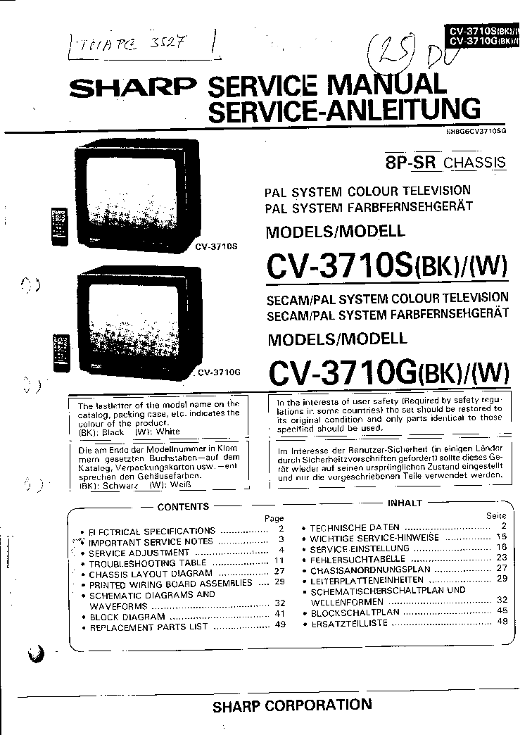 SHARP CV-3710S Service Manual download, schematics, eeprom