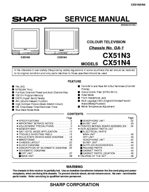 SHARP GA1 CHASSIS CX51N3 TV SM Service Manual download