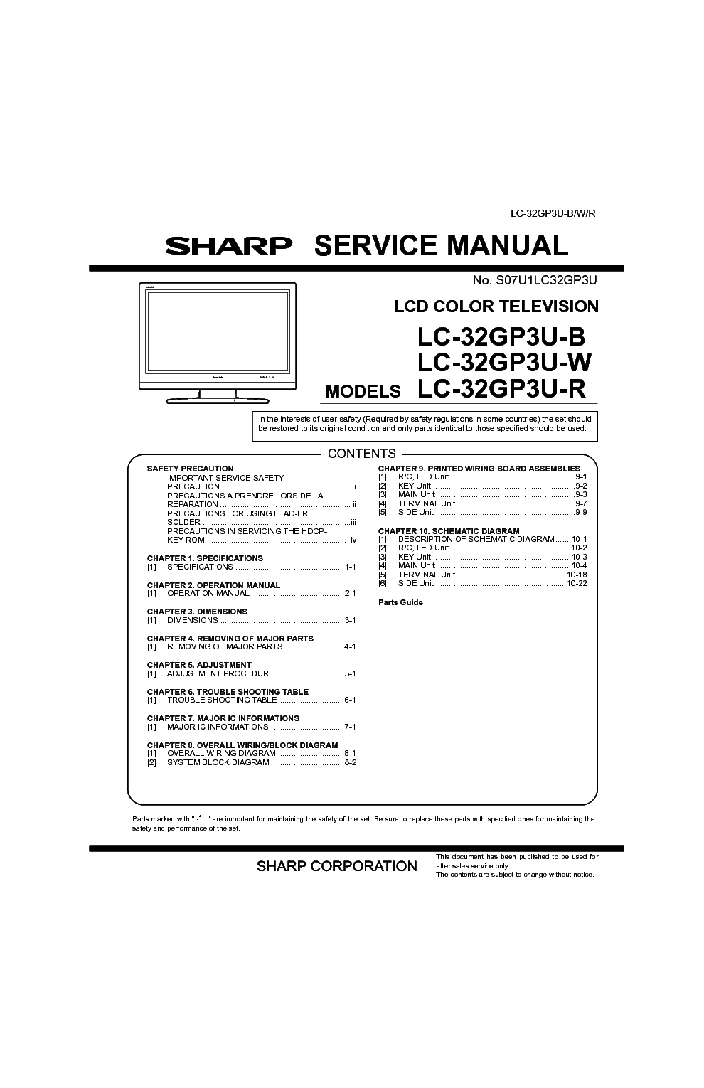 SHARP LC-42D62U LC-62C42U Service Manual download