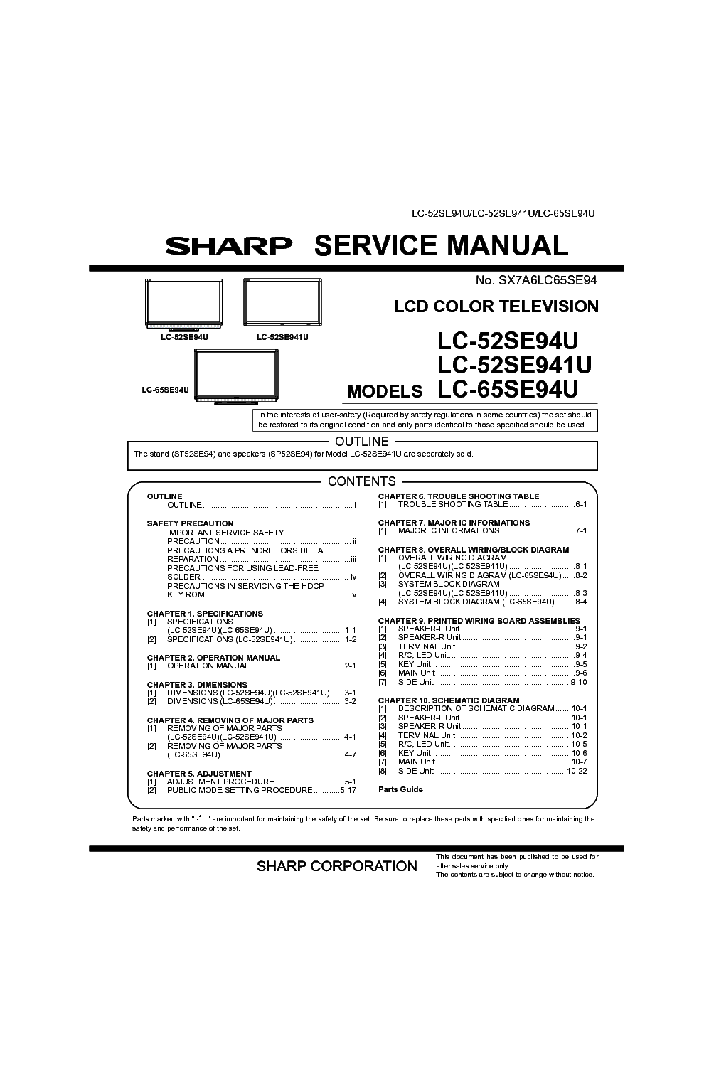 SHARP LC-52SE94U 52SE941U 65SE94U Service Manual download