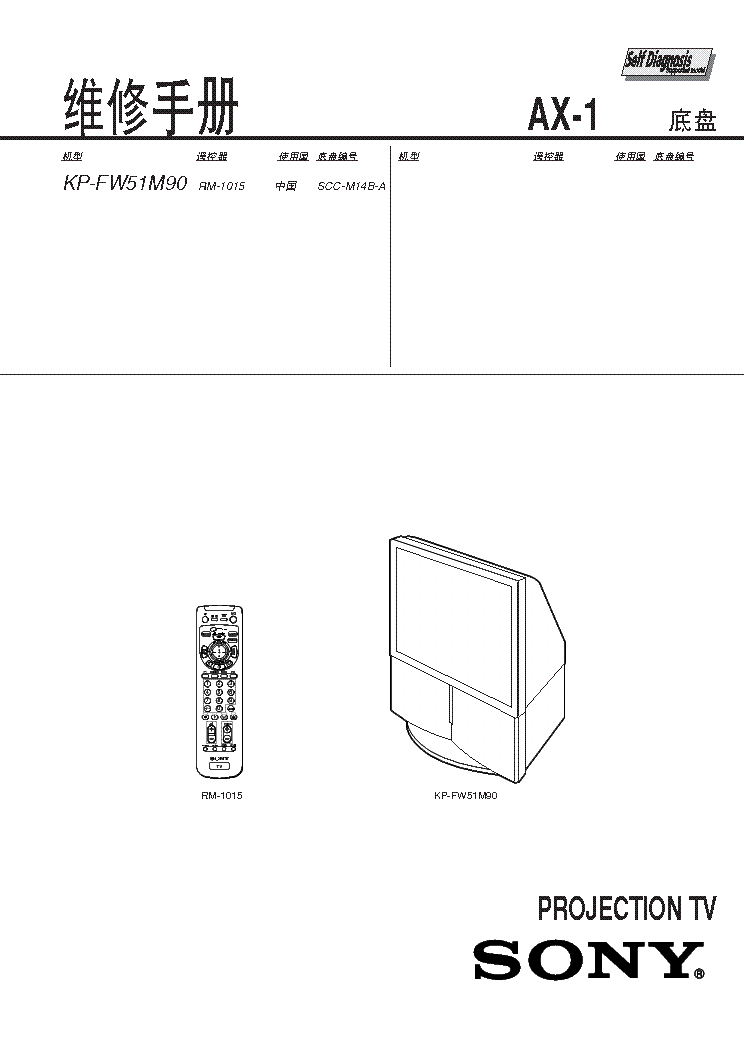 SONY AX1 CHASSIS KPFW51M90 PROJECTION Service Manual