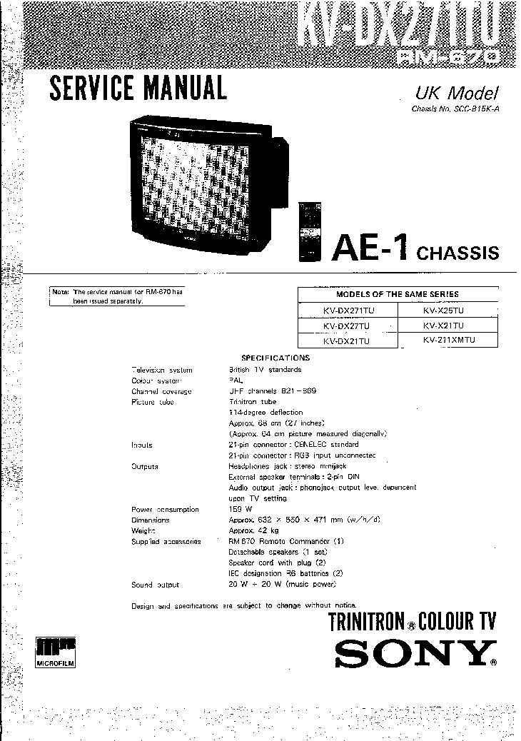 SONY CHASSIS AE1 KVDX271TU TV SM Service Manual download
