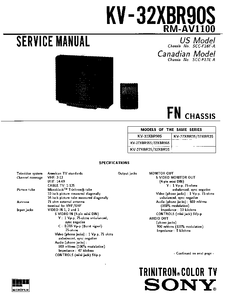 SONY FN CHASSIS KV32XBR90S Service Manual download