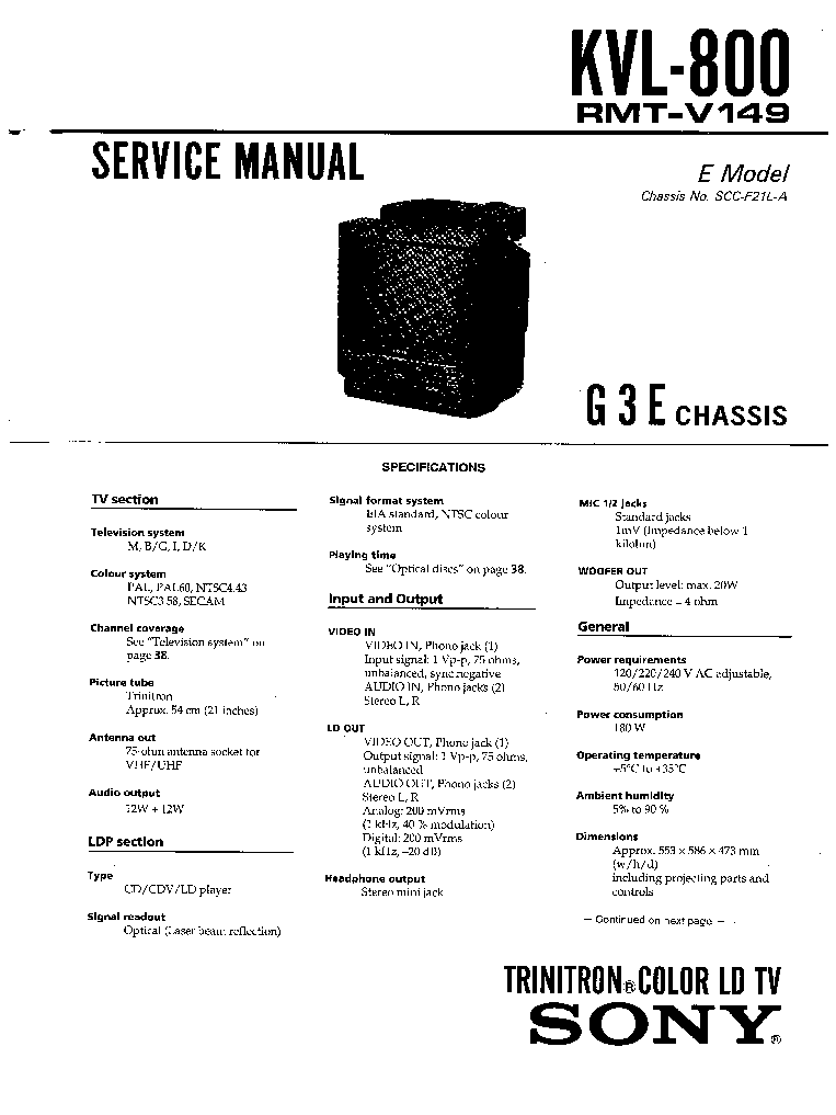 SONY G3E CHASSIS CD TV Service Manual download, schematics