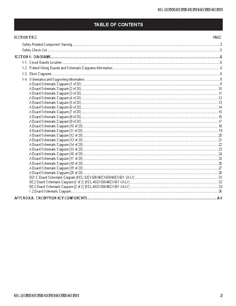 SONY KDL-32EX500 40EX500 40EX501 46EX501 CHASSIS AZ1-K REV