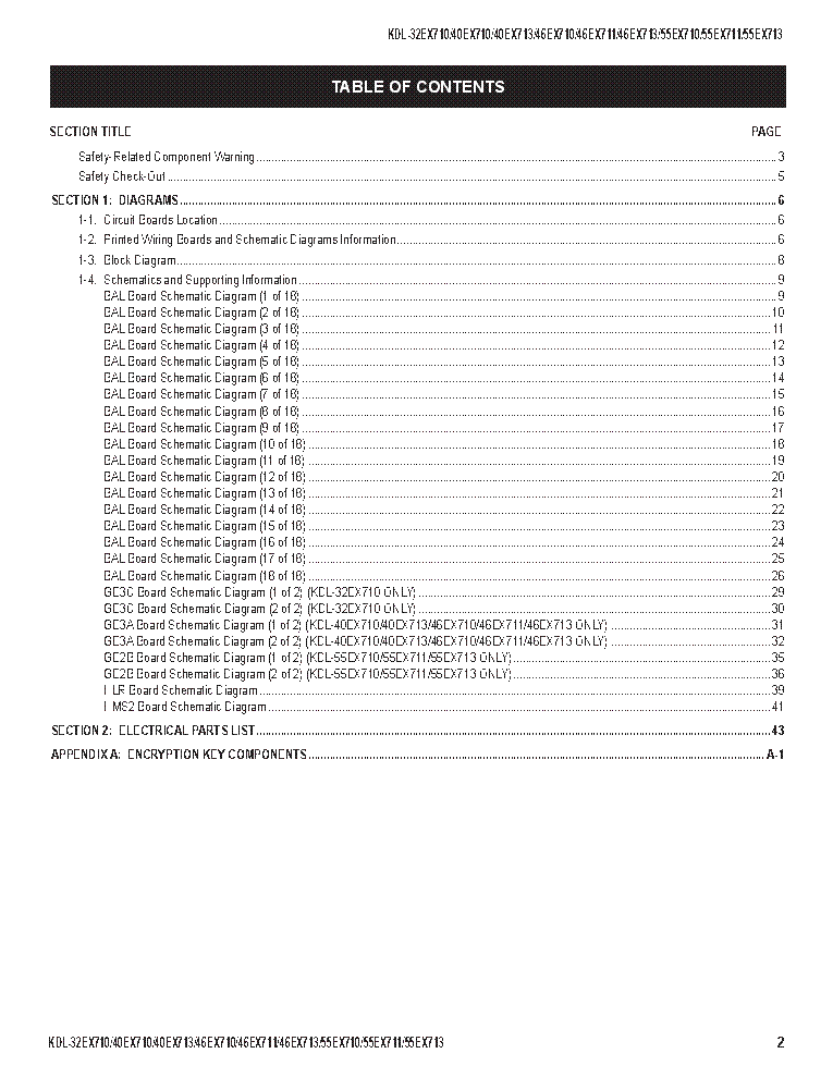 SONY KDL-32EX710 40EX710 46EX710 55EX710 55EX711 55EX713