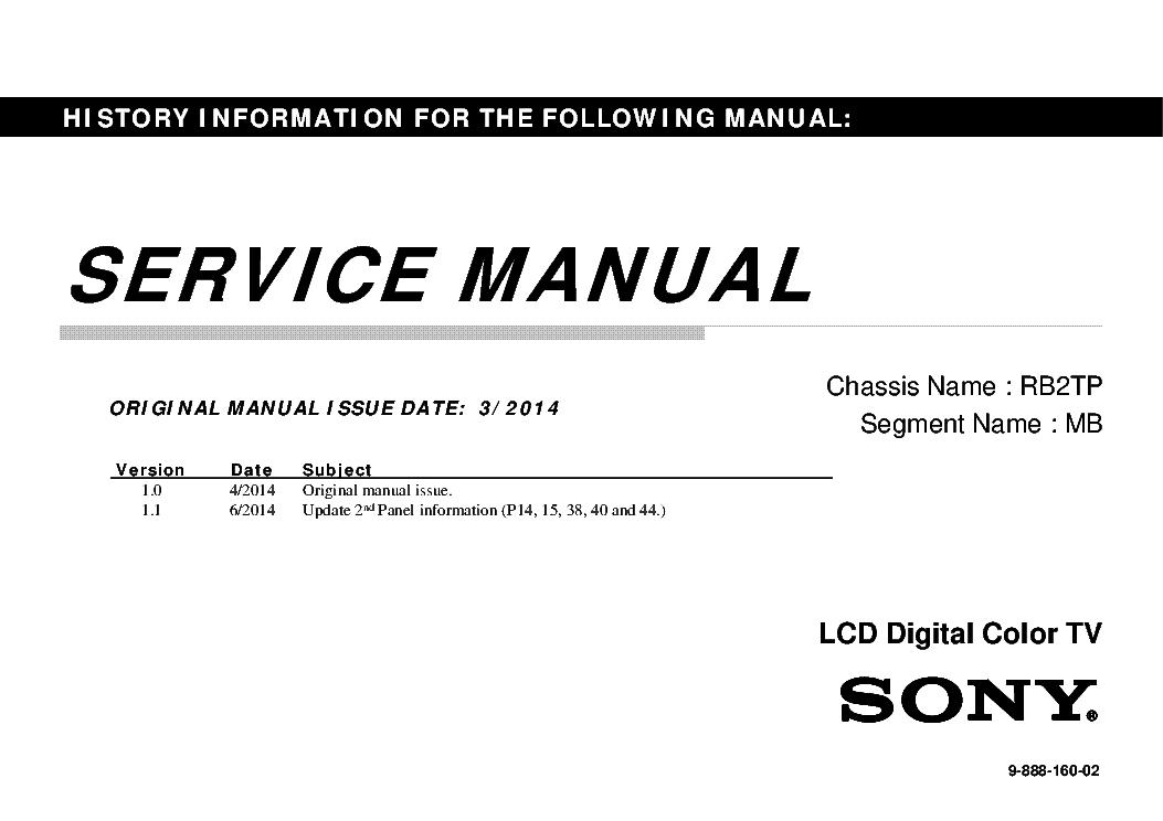 SONY KDL-32R300B 40R350B CHASSIS RB2TP VER.1.1 SEGM.MB SM