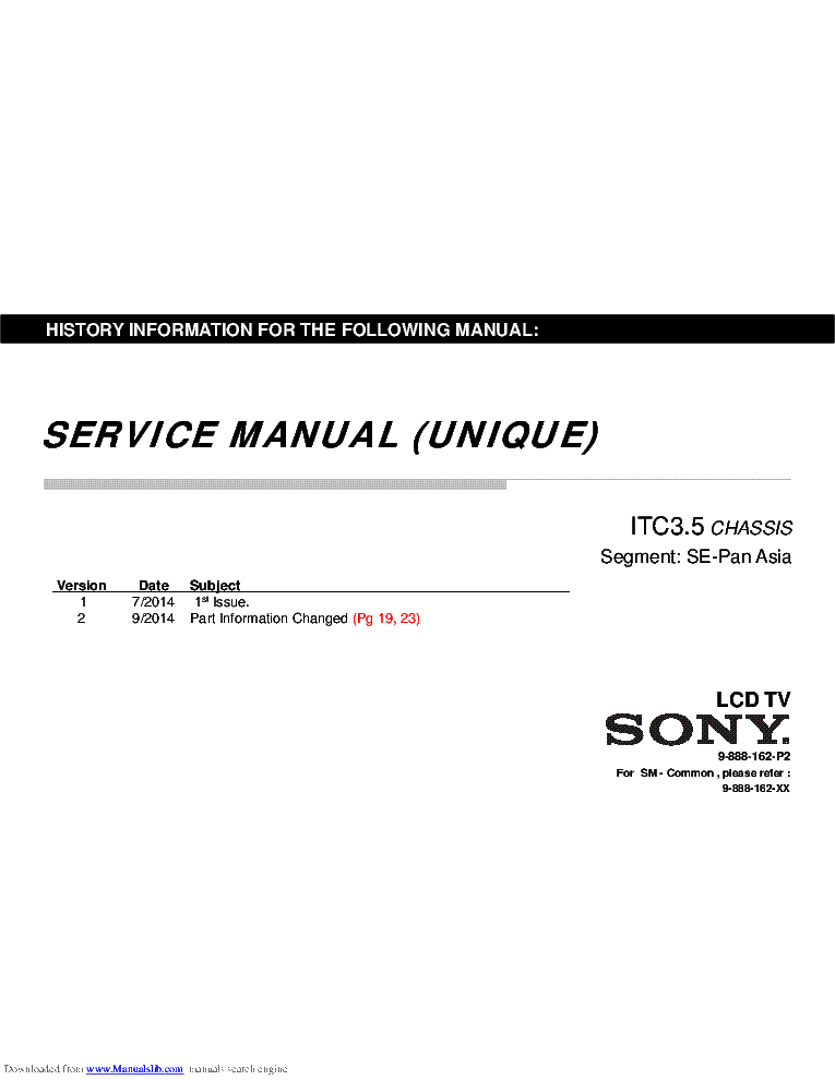 SONY KDL-32R300B CHASSIS ITC3.5 SM Service Manual download
