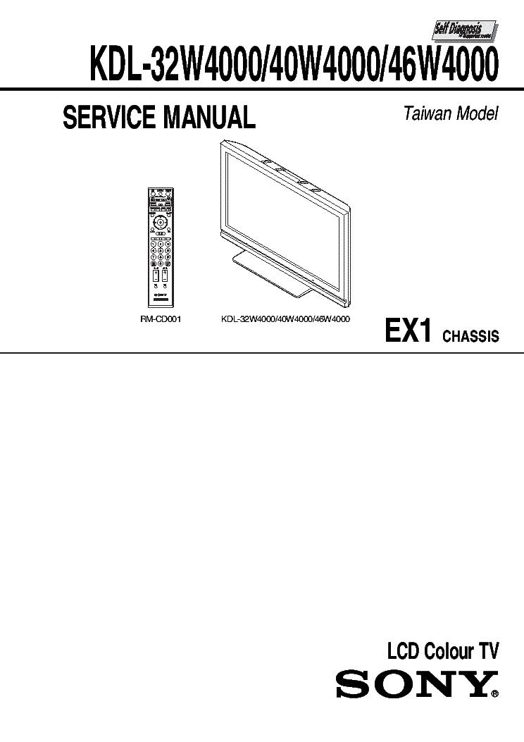 SONY KDL-32W4000 40W4000 46W4000 CHASSIS EX1 VER.1.0