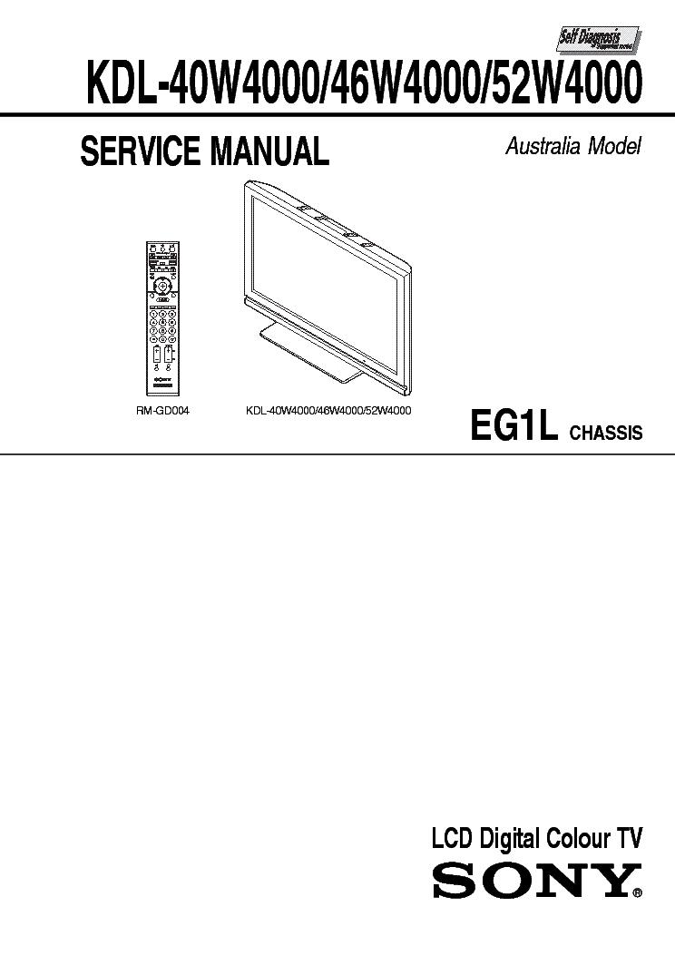 SONY KDL-40W4000 KDL-46W4000 KDL-52W4000 CHASSIS EG1L