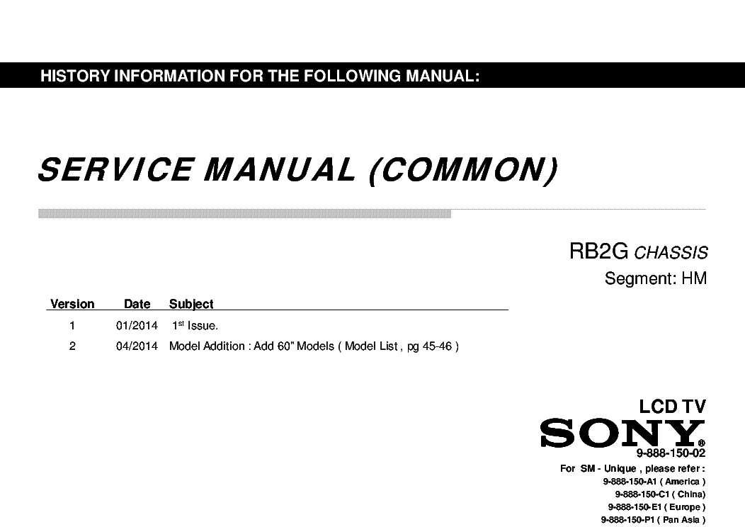 SONY KLV-L32M1-AEP Service Manual free download