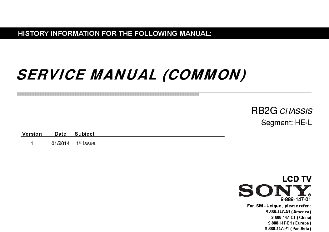 SONY KDL-42W815B CHASSIS RB2G HE-L SM Service Manual