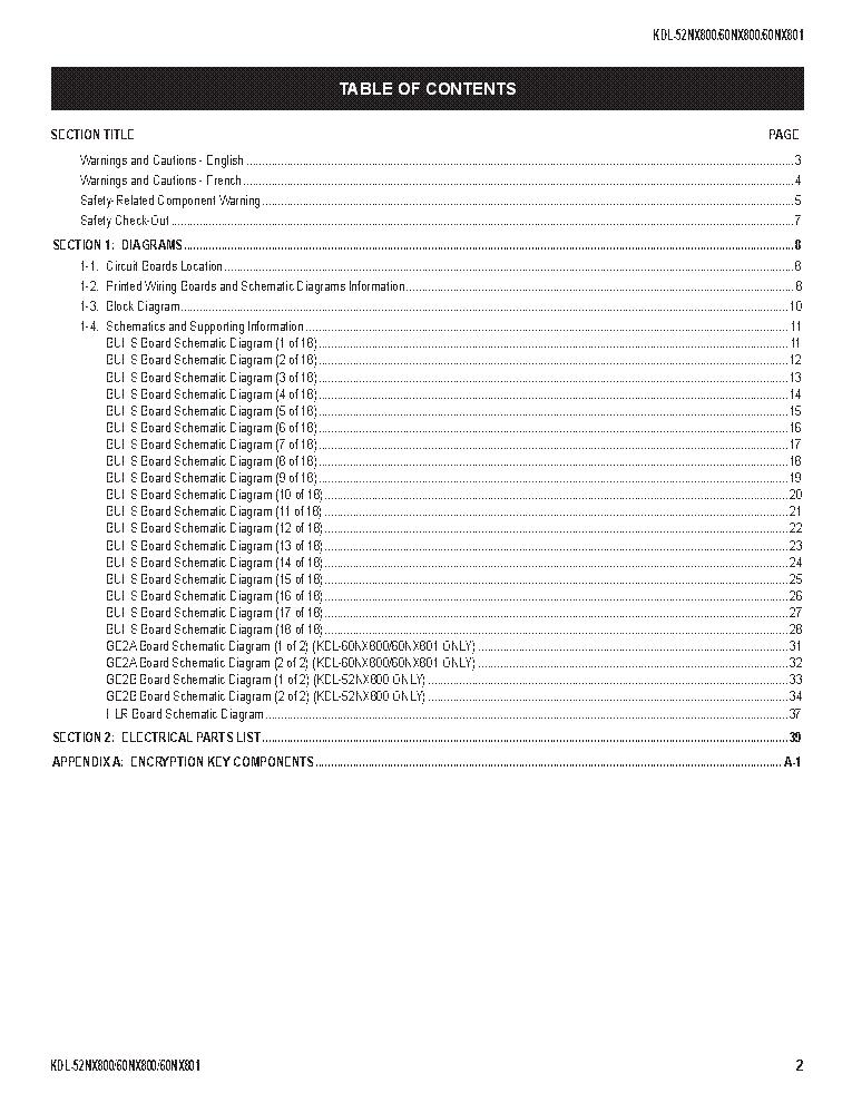 SONY KDL-52NX800 60NX800 60NX801 CHASSIS A1-H REV.3 SM