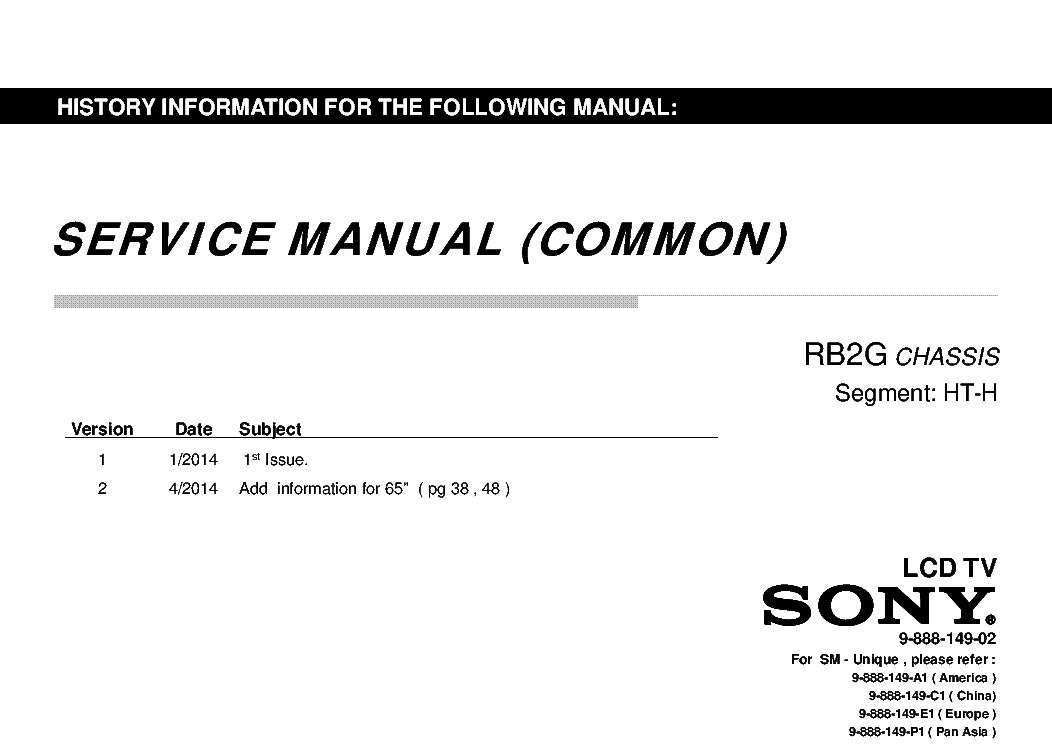 SONY KDL-55-65W950B 55-65W955B 55-65W957B 55-65WM25B