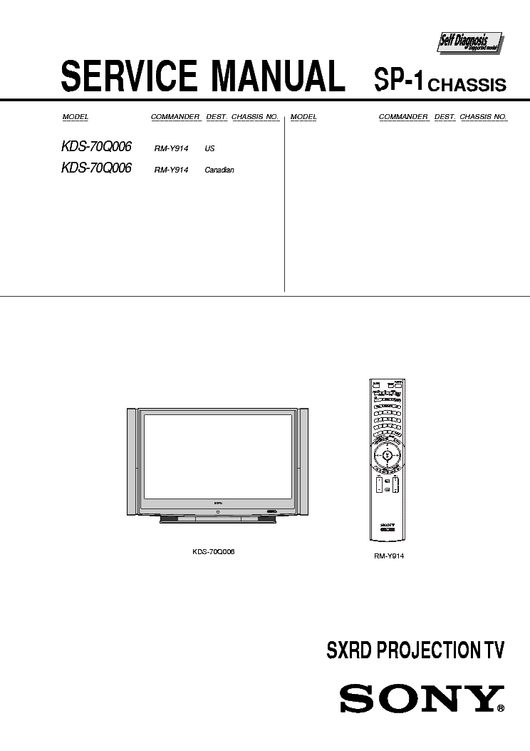 SONY KDS-70Q006 CHASSIS SP-1 SM Service Manual download