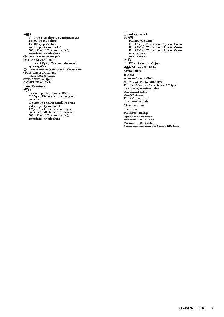 SONY KE42MR1E PLASMA Service Manual download, schematics