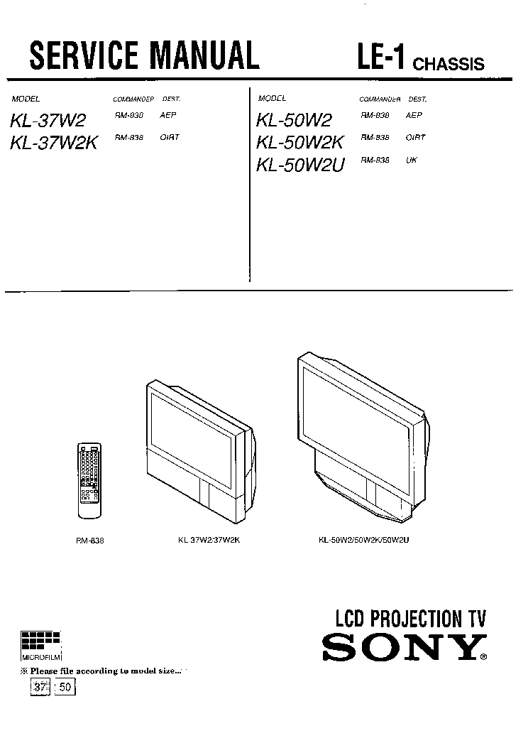 SONY KL-37W2-KL-50W2 Service Manual download, schematics
